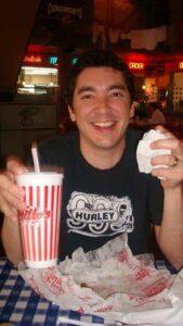 Joe eating at Portillo's