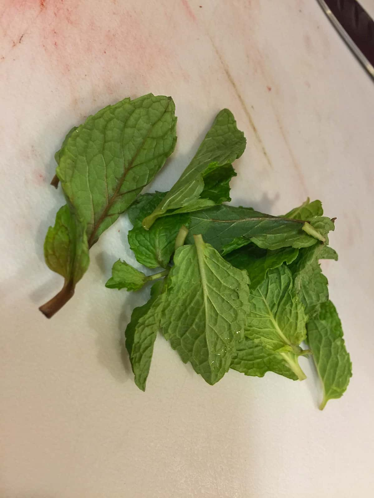 mint for the strawberry lemonade cocktail