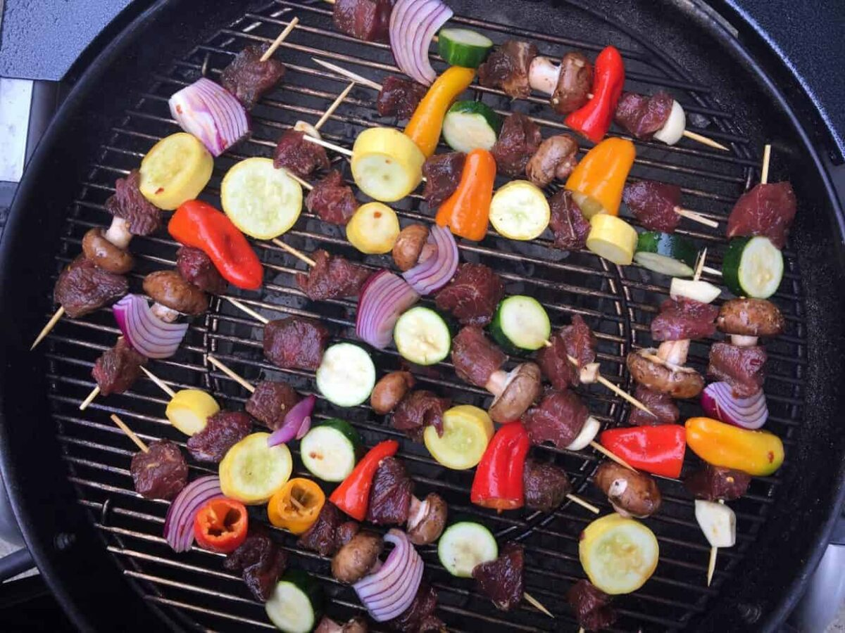 shish kabobs with a beef marinade