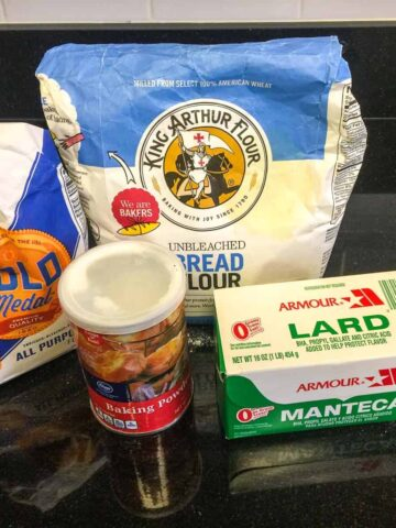 all of the ingredients for the best empanada dough