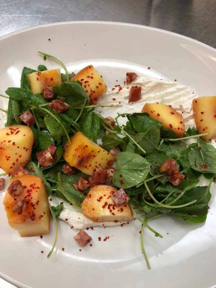 Watercress, Whipped Goat Cheese, and Pickled Peach Salad