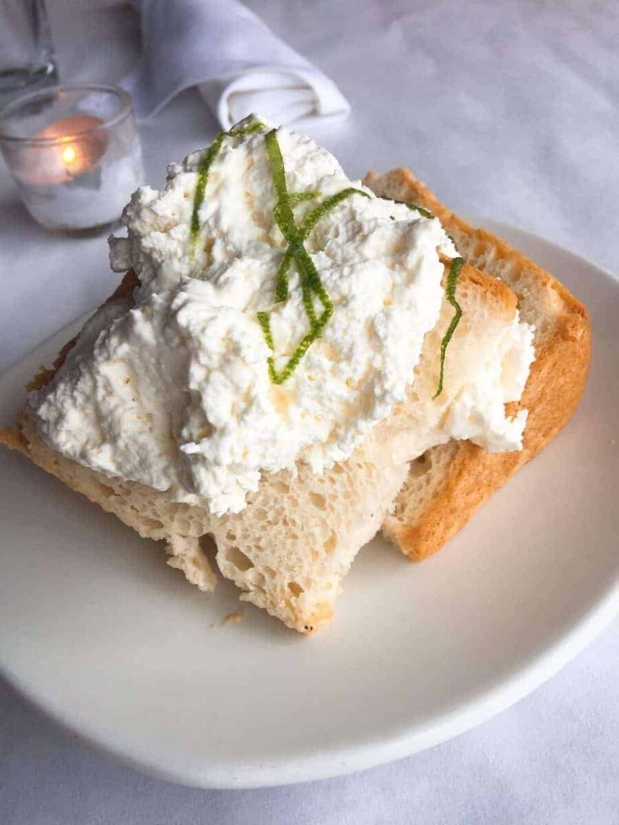 Angel Food Cake, Lime Chantilly Cream and Candied Lime Zest