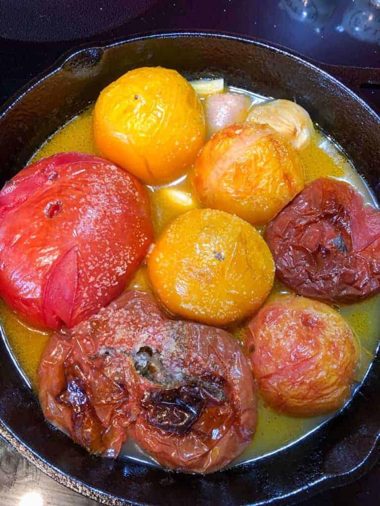Oven roasted heirloom tomatoes