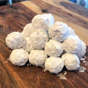 chocolate truffles rolled in powdered sugar