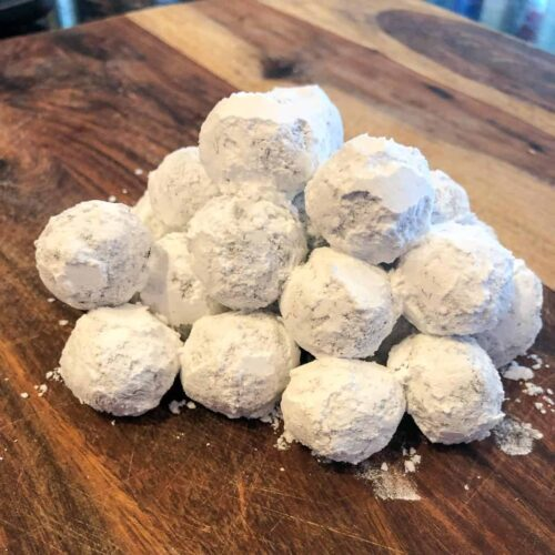chocolate truffles rolled in powdered sugar