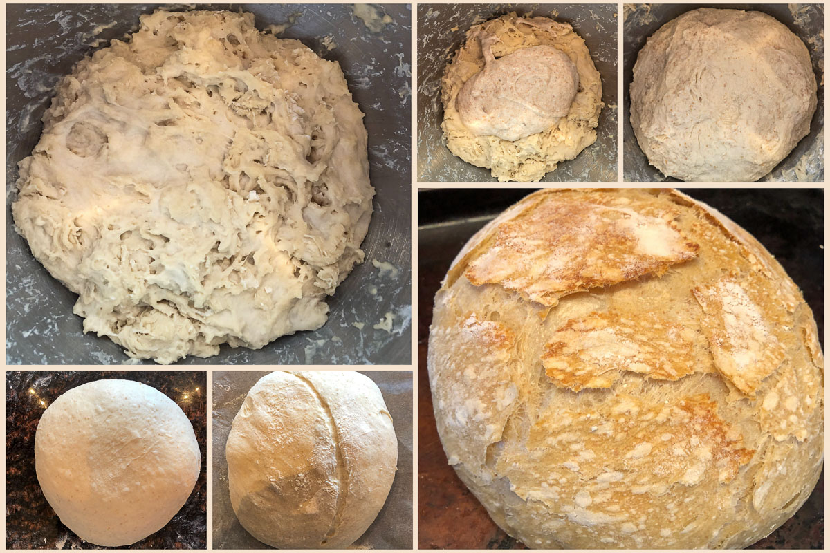 different stages of bread baking from dough, kneading, proofing, scoring, and baking