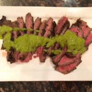 medium rare Flank steak with Chimichurri Sauce